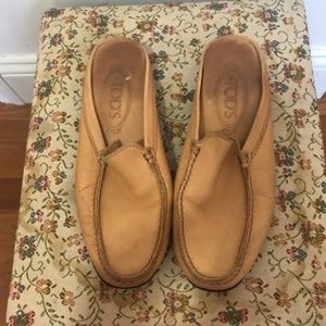 Tod's Camel Leather Loafer Mules